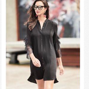🌸New ELIE TAHARI Sawyer Ruffled Silk Shirt Dress